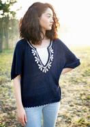 手編みコットン・リーフ刺繍ポンチョ
