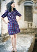 手織りマドラスチェック・パフスリーブ・ドレス