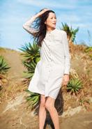 手織り・フラワー刺繍・シャツドレス