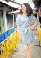 レース手刺繍・ドレス・ライトブルー