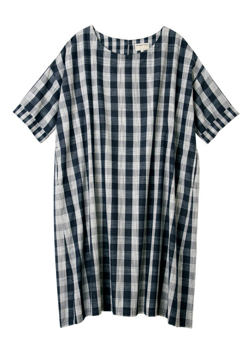 手織りイカット・ギンガムチェック 半袖ワンピース